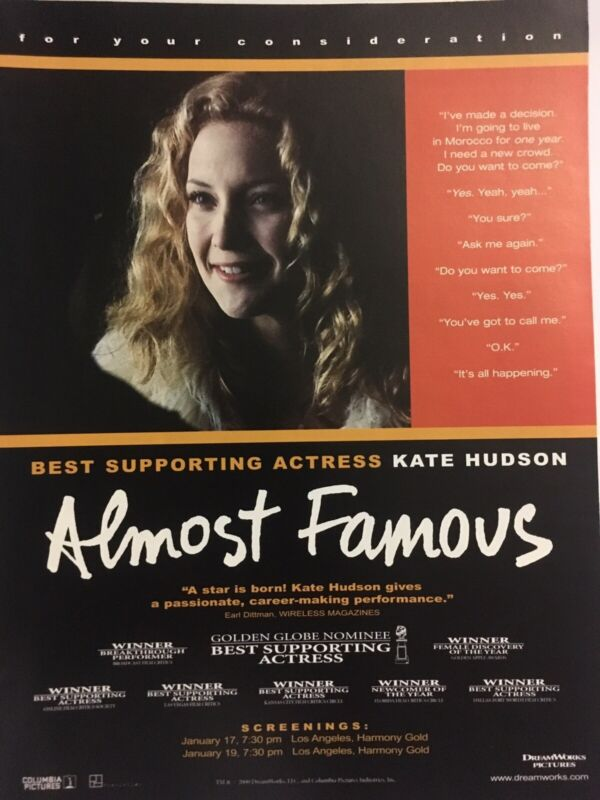 ALMOST FAMOUS Kate Hudson Best Actress For Your Consideration Oscar Ad