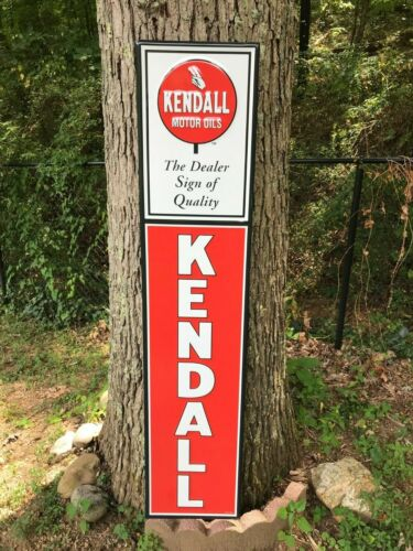 """""""KENDALL MOTOR OIL"""" LARGE EMBOSSED METAL SIGN (57.5""""x 12.5"""") NEAR MINT, NOS"""