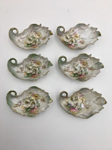 Set of Six Rare Porcelain Handpainted Floral Oyster Shooters Sippers