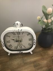 NEW Shabby Chic Quartz Table Clock Distressed Roman Numerals 8 X 8 1/2
