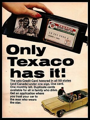 1965 Texaco National Credit Card Service Station Attendant Vintage Print Ad