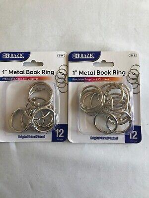 2 Pack - 24-1 Inch Metal Rings Scrapbooking Silver Journaling Crafts Binder Ring