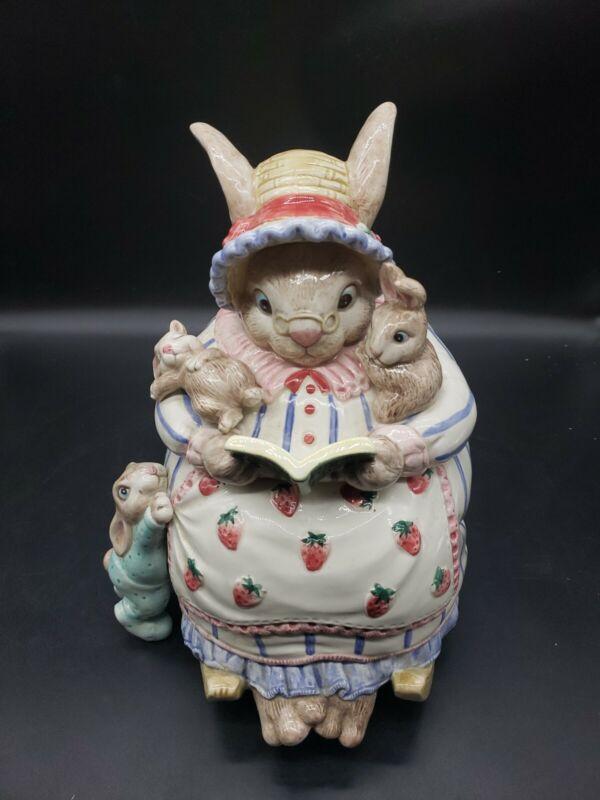 Retired Fitz & Floyd Bunny Bonnet Hill  Rabbit Hand Painted Cookie Jar 1992 Rare