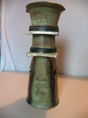 Vintage Asian Japanese Inspired Studio Art Pottery Hand Thrown Vase SIGNED Gail!