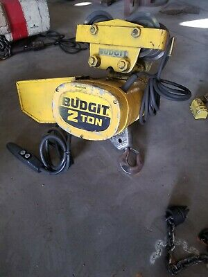 Budgit 2 Ton Chain Hoist Model Beh0208 With Pendant Control And Trolley.