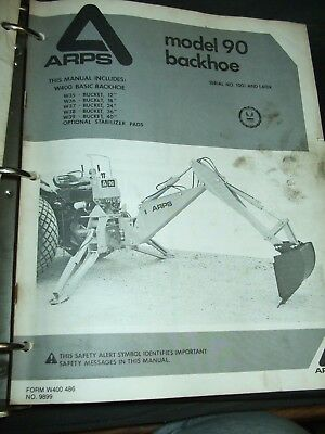 Arps 90 Backhoe Parts Operators Catalog Manual Sales Brochure