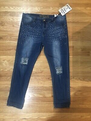 VIP Ripped Distressed Skinny Jeans For Women Junior Plus Size 21/22  NWT Bling - Junioren Distressed Skinny Jeans