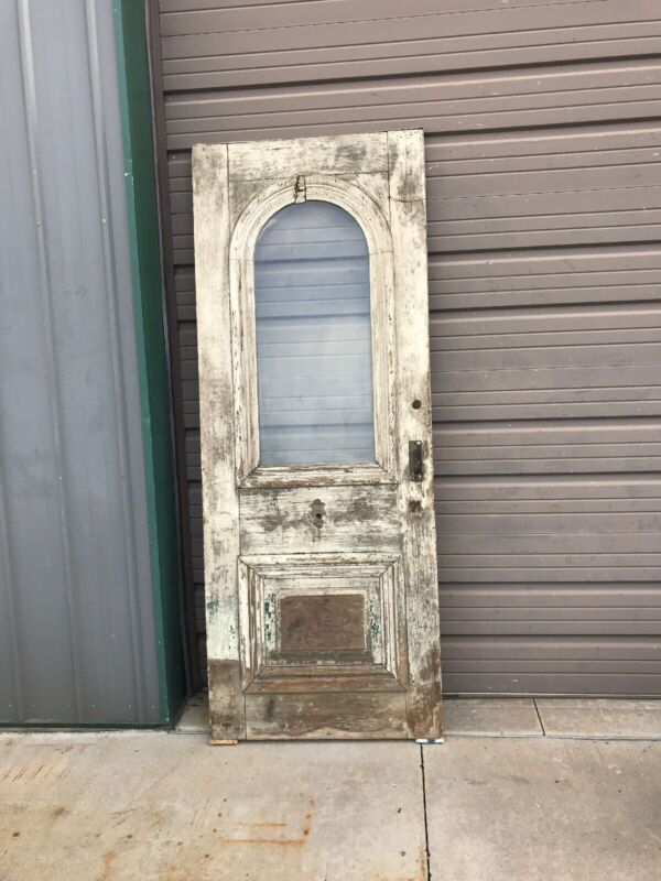 AN 568 Antique arch top entry door 32 3/8 x 83