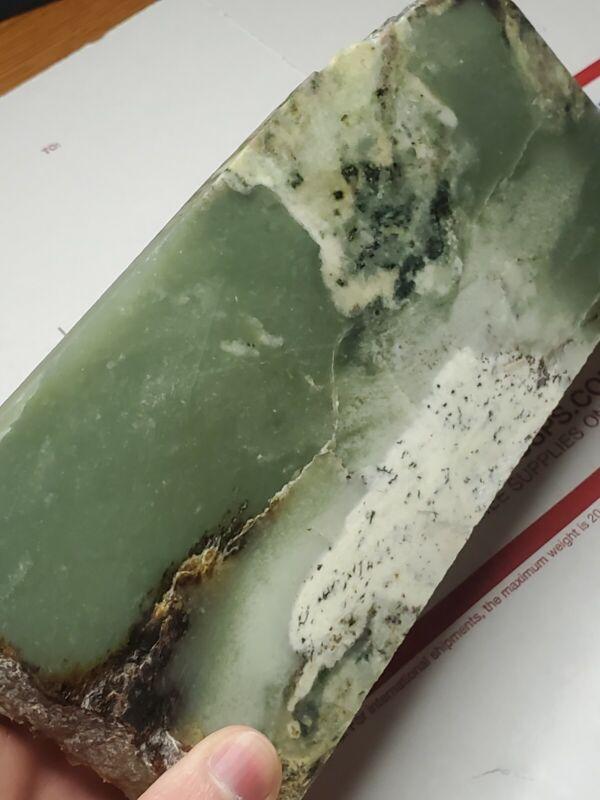 Siberian Light Apple Green Nephrite Jade Rough Slab, 1lb 5oz
