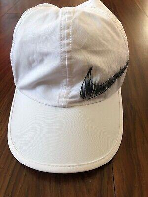 152c38f683294 RARE Nike Featherlight Adjustable Hat Drifit Aerobill Tennis Cap  White black NEW