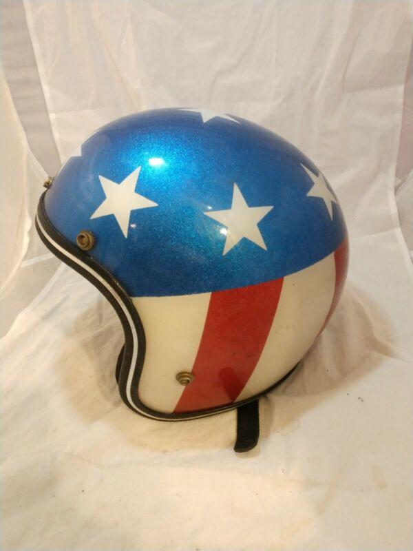 Vintage EVEL KNIEVEL Easy Rider? Motorcycle Helmet Rg-9 Stars Stripe RARE L