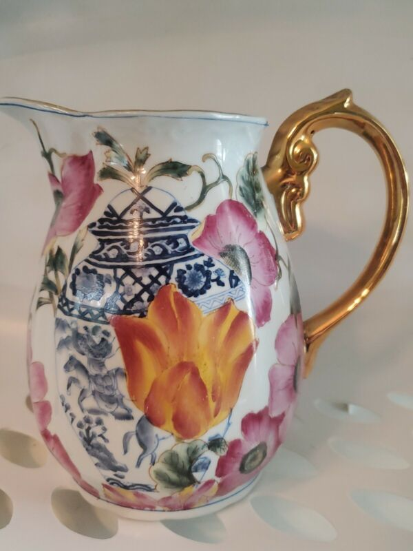 Oriental Accent  Hand Painted Pitcher