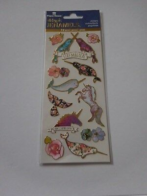 Scrapbooking Crafts Stickers PH Vinyl Gold Trim Unicorns Whales Narwhal Magical