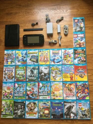 Nintendo Wii U Deluxe 32GB Black System Console Lot Bundle + CHOOSE 1 GAME USA