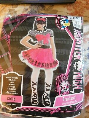 Kids Draculaura Costume (Monster High Draculaura Dracula Costume Child Size 12-14 Large New Dress-up)