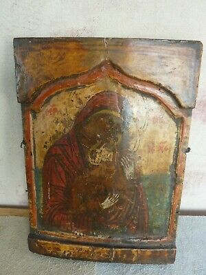 ANTIQUE RUSSIAN- TURKISH?  PAINTED WOODEN ICON