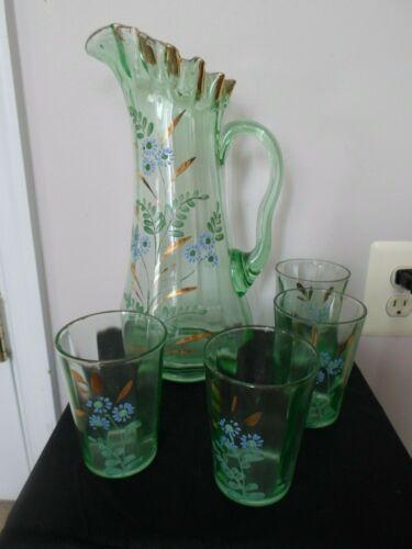 Northwood Clear Green Glass Ruffled  Victorian Pitcher 4 Tumblers Gold Trim