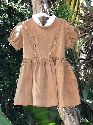 Vintage Girl's Toddler Party Dress Cinderella Brand Frock Size 2t 3t Gold