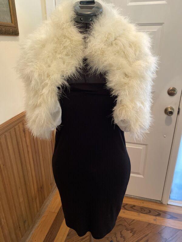 MARABOU WHITE FEATHER CAPE BOLERO GLAM SHRUG Women XS