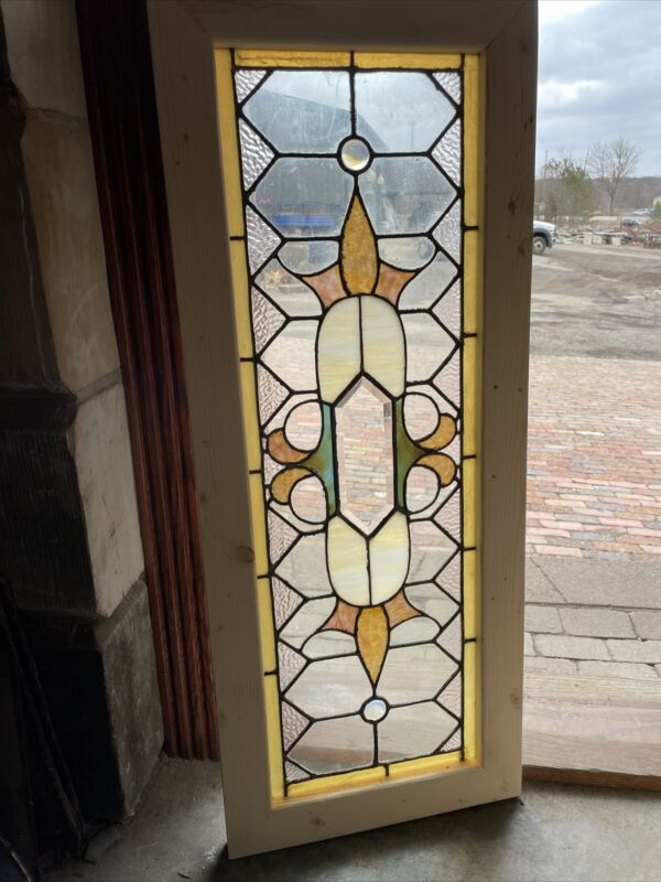 SG3678 Antique Stained Glass Transom Window 18 X 44