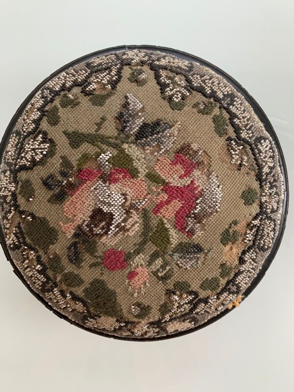"Victorian Needlepoint & Floral Beaded  Round Foot Stool 11.5"" Wide ,Late 1800"