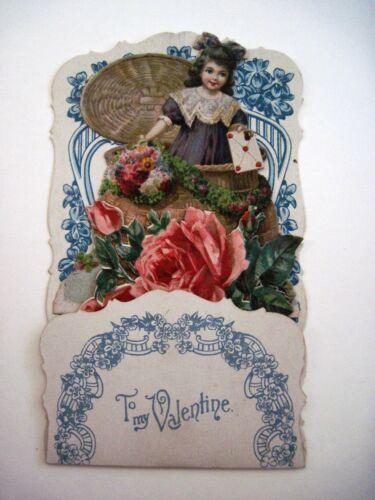 Elaborate 1920s  Antique Valentine Card w/ Die Cut Scraps of Roses *