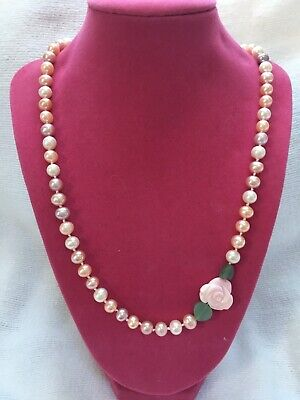 Freshwater Cultured Pearls With Carved Shell Rose (Cultured Pearl Gemstone Shell Necklace)