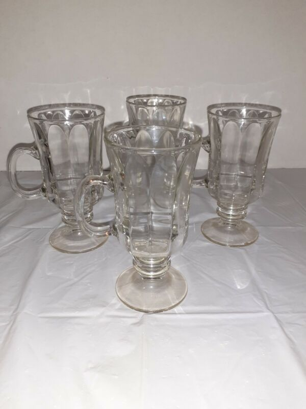 4 Footed stemmed Coffee Tea Hot chocolate  Mugs Cups Clear glass 6 Oz