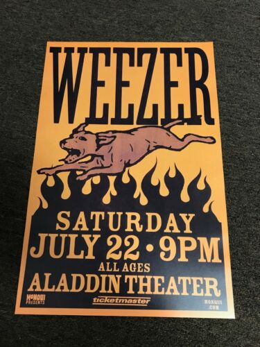 "Weezer 2000 Aladdin Theater Portland Oregon Cardstock Concert Poster 12""x18"""