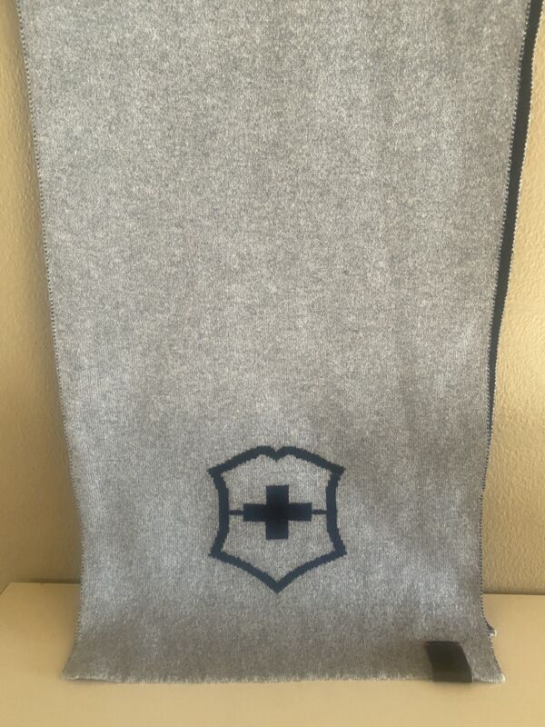 VICTORINOX GRAY/BLACK COTTON AND WOOL RECTANGLE KNIT SCARF