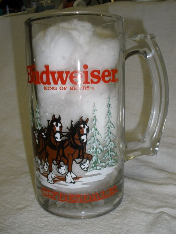 "BUDWEISER BEER 1992 (DIFF. YEAR)  51/2"" TALL CLYDESDALES AROUND THE GLASS STEIN"