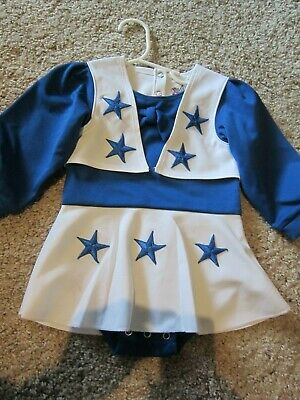 Dallas Cowboys Cheerleaders Outfit Dress Uniform White Royal Blue 1 Pc Sz 18mo  - Dallas Cowboys Cheerleaders Outfits