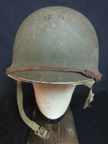 WW II HELMET US ARMY HAWLEY LINER FIXED BAIL 1ST PAT CHIN STRAP SUPERB COMPLETE