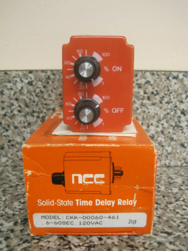 New NCC CKK-00060-461 .6-60 Sec 120V Solid State Timer Time Delay Relay