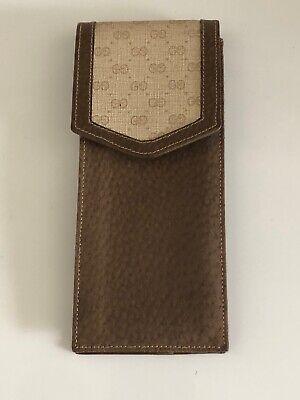 Gucci Leather Canvas Pouch Eyeglass Case Cigarette Cigar GG Monogram Vintage