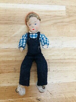Old Antique Vintage Dolls House Boy Doll Metal Wire Fabric Face