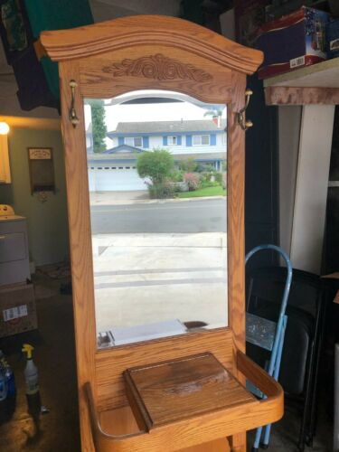 ENTRY WAY OAK HALL TREE WITH MIRROR SIDE UMBRELLA OR CANE STAND,   PICKUP ONLY