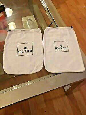 X2 Vintage White Gucci Green Writing Show/Bag Dust Bag 11.5x8