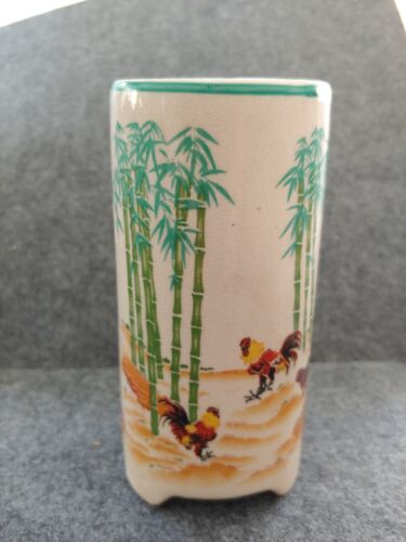 HANDPAINTED PANDA GARDEN BAMBOO PLANTER VASE  PAINTED WITH CHICKENS
