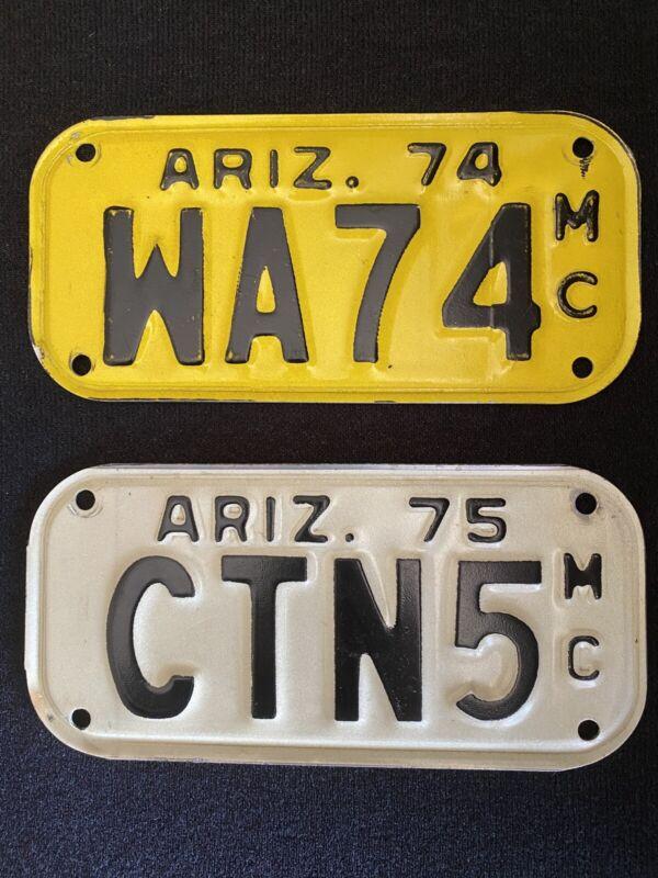 1974 & 1975 ARIZONA  MOTORCYCLE LICENSE PLATE Plates #  WA74 & CTNS