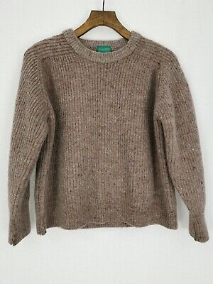 Vintage Canda C&A Pure New 100% Wool Jumper Light Brown Size S Cropped Short