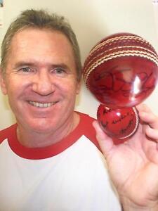 ALLAN BORDER - HUGHES signed Cricket Ball Falcon Mandurah Area Preview