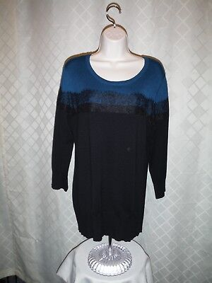 80% Rayon 20% Polyester (3/4 Sleeve Sweater Blouse XL APT.9 Black Teal Green 80% rayon 20% polyester)