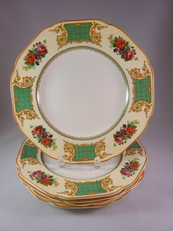 "CROWN  DUCAL WARE ENGLAND U.S.A. PAT72944 CRD130 5 DINNER PLATES 9 7/8"" DIAMETER"