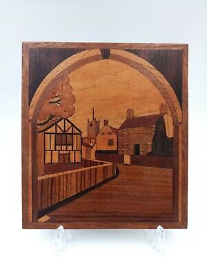 Vintage Inlaid Wood Marquetry Plaque With Village Houses