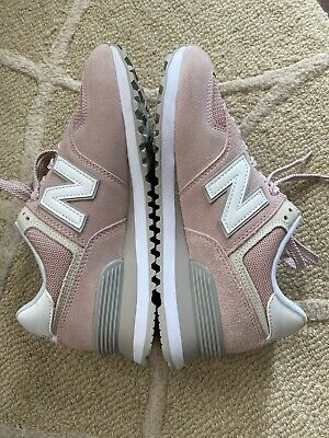 New Balance Light Pink/ Gray/White Classic 574 Sueded Sz 7