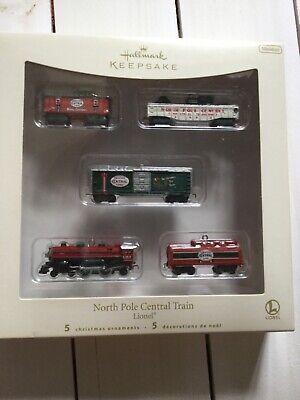 Hallmark NORTH POLE CENTRAL TRAIN Lionel Christmas Miniature 5 pc Ornament Set