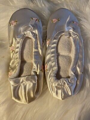 s Kids Girls White Pink Flowers New No Tag (Girls White Ballet Slippers)