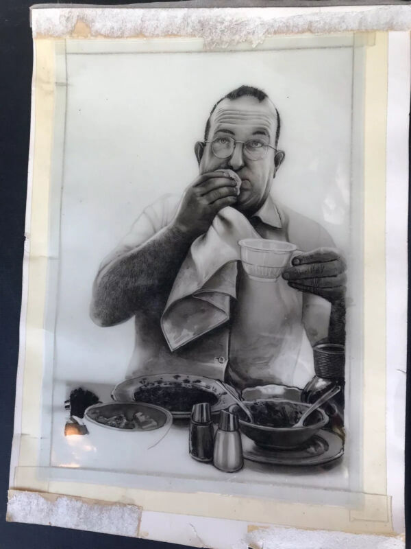 Illustration Drawing Of Man Eating Realistic Detail