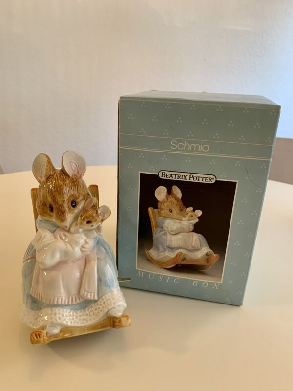 Schmid Beatrix Potter Rock-A-Bye-Baby Rabbit Rocking Music Box Working 1992
